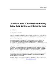 La sécurité dans la Business Productivity Online Suite de Microsoft Online Services