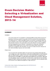 Ovum Decision Matrix:  Selecting a Virtualization and  Cloud Management Solution