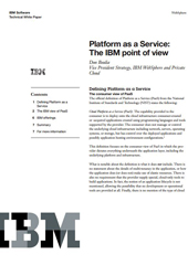 Platform as a Service: The IBM point of view (Livre Blanc en anglais)