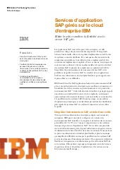 Services d'application SAP gérés sur le cloud d'entreprise IBM