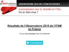 Les résultats de l'Observatoire 2015 de ITSMF en France